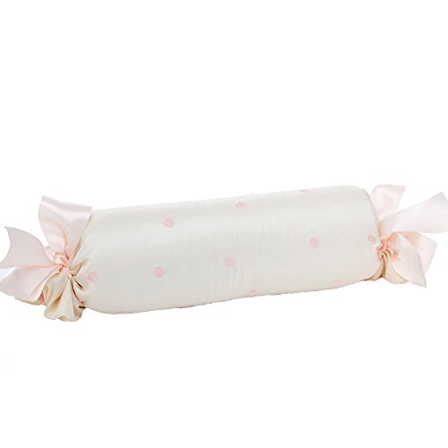 Charlotte Embroidered Pink Dot Roll Pillow by Glenna Jean