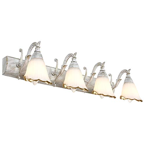 CFJKN Vanity Lighting Brushed Nickel, 3-Light E14 Bath Wall Sconce Bath Mirror Lamp Wall Mounted Bath Mirror Lamp (Bulbs Not Included),64cm/25in_White ()