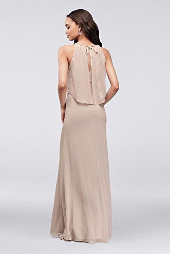 F19773 Sangria Bridal Style Dress Crinkle Bridesmaid Flounced David's Sheath Chiffon 1787nq