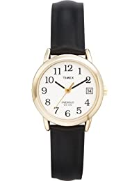 Timex Women's 2H341 Easy Reader With Date, Black Leather Watch