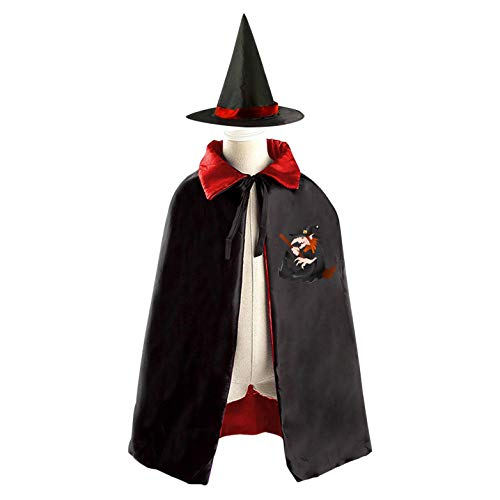 69PF-1 Halloween Cape Matching Witch Hat Terrible Warlock Wizard Cloak Masquerade Cosplay Custume Robe Kids/Boy/Girl Gift Red