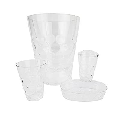 Home Basics ACCESORY Clear BU 4PC Bath Set - Made of durable plastic for long-lasting durability 4 piece set includes a waste basket, toothbrush holder Transparent finish that blends effortlessly with any color scheme - bathroom-accessory-sets, bathroom-accessories, bathroom - 31Lw8%2B9X43L. SS400  -