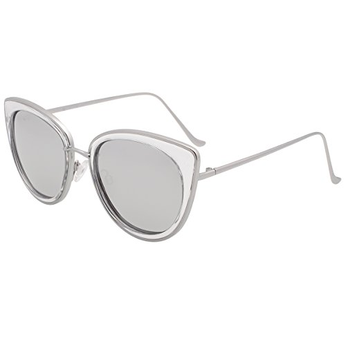 VIVIENFANG Women's Mirror Lens Polarized Vintage Cat Eye Sunglasses Metal Frame 86832C Silver Mirror