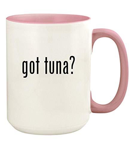 got tuna? - 15oz Ceramic Colored Handle and Inside Coffee Mug Cup, Pink