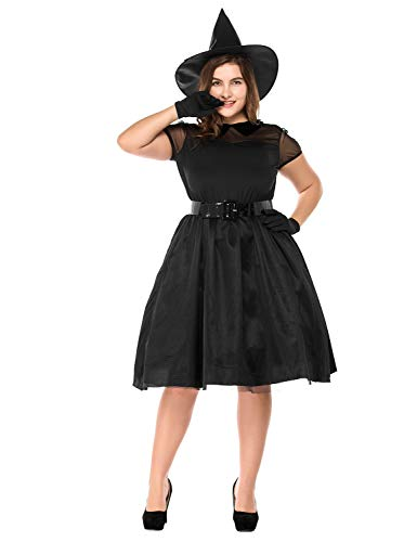 NonEcho Adult Witch Costume Women Classic Black Witchy Cosplay Dress Halloween Party ()