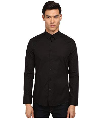 Bikkembergs Men's Shoulder Contrast Button Up, Black, XL