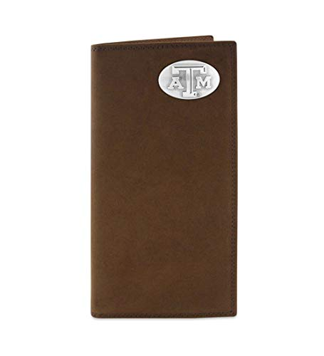 - NCAA Texas A&M Aggies Zep-Pro  Crazyhorse Leather Roper Concho Wallet, Light Brown