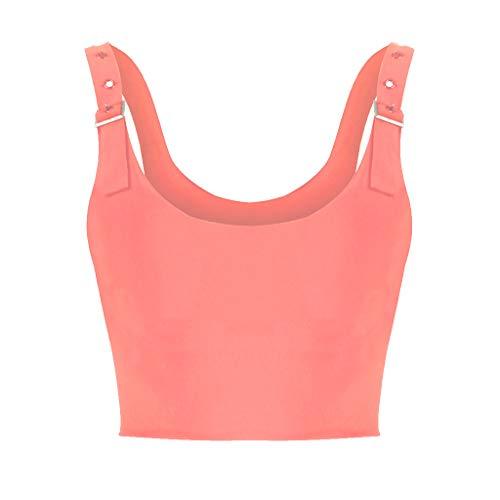 NCCIYAZ Womens Crop Top Camisole Summer Solid Colour Plain Adjustable Straps Sleeveless Ladies Vest Tank(2XL(12),Pink)
