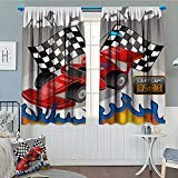 SeptSonne-Home Kids Decor Window Curtain Drape Race Car with Finish Line Flags Pilot and Flames with Abstract Gray Background Decorative Curtains for Living Room 52