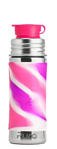 Pura Sport 11 oz / 325 ml Stainless Steel Kids Sport Bottle with Silicone Sport Flip Cap & Sleeve, Pink Swirl (Plastic Free, NonToxic Certified, BPA Free)