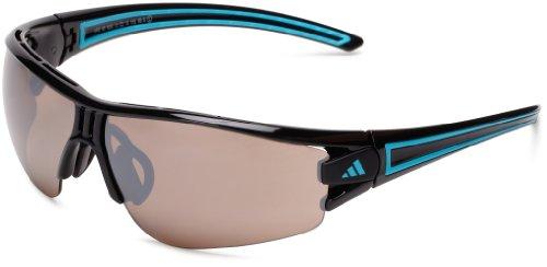 adidas Evil Eye Halfrim L a402 6059 Rectangle Sunglasses,Shiny Black & Blue,59 mm