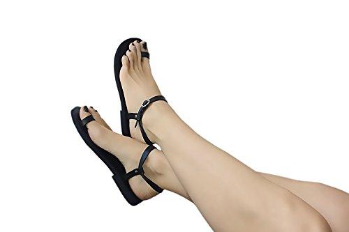 Sandali In Pelle Fatti A Mano Calpas, Anello Punta, Sandali Fatti A Mano Con Cinturino Alla Caviglia A Forma Di Caviglia - Dream Black