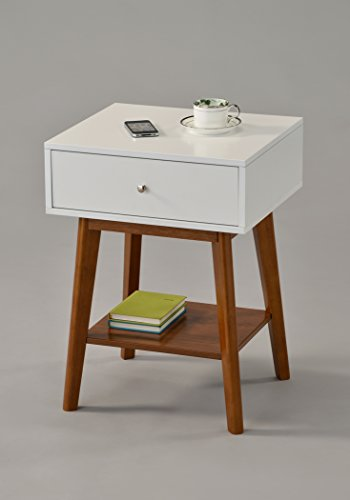 White Dark Oak Side End Table Nighstand with Drawer and Shelf 24 H – Mid-Century Style