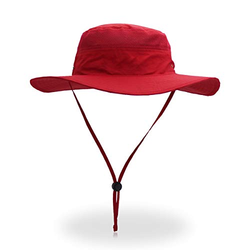 QingFang Wide Brim Sun Hat Mesh Bucket Hat Lightweight Bonnie Hat Perfect for Outdoor Activities Red -