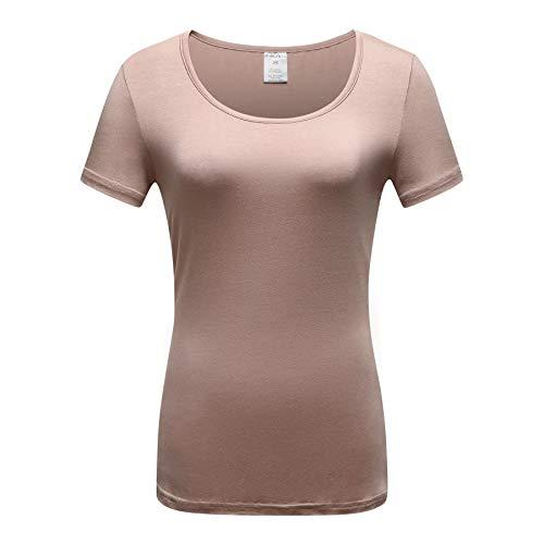 OThread & Co. Women's Short Sleeve T-Shirt Scoop Neck Basic Layer Spandex Shirts (Small, Khaki)