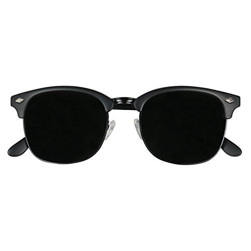 ShadyVEU - Exclusive Super Dark Retro 80's Semi Half Rimless Round Classic Sunglasses (ALL BLACK, 142)