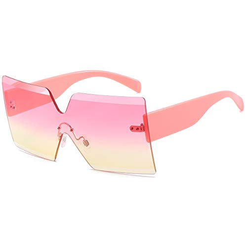 Oversized Square Sunglasses for Women Rimless Frame Candy Color Transparent Glasses(Pink-Yellow)