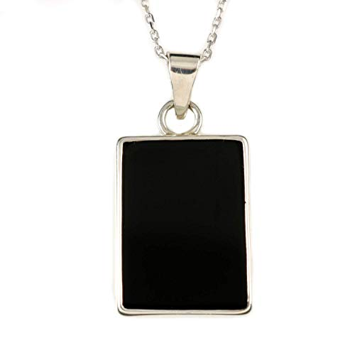 (Women's Sterling Silver Natural Black Onyx Flat Rectangular Pendant Necklace 16+2'' Extender Chain)
