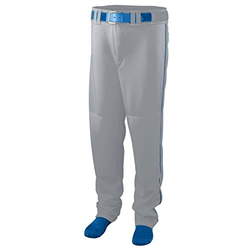 (Augusta Activewear Series Baseball/Softball Pant with Piping - Youth, Silver Grey/Royal, Small)