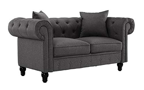Divano Roma Furniture Classic Linen Fabric Scroll Arm Tufted Button Chesterfield Style Loveseat Couch (Light Grey)