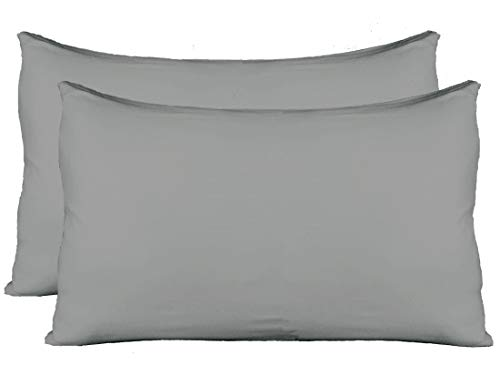 - Exclusive! Extra Soft Jersey Knit Pillow Cases, Standard Size with Hidden Zipper, Soft Than Cotton, Pack of 2, Gray
