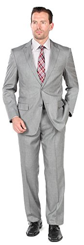 Mens 2 Button 2 Piece Modern Fit Suit - Wool/Silk Blend Light Grey 42R (Suit Silk Wedding)