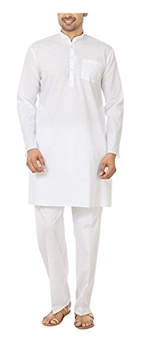 Royal Kurta Men's Fine Cotton Kurta Pyjama Set 46 White by Royal Kurta (Image #3)