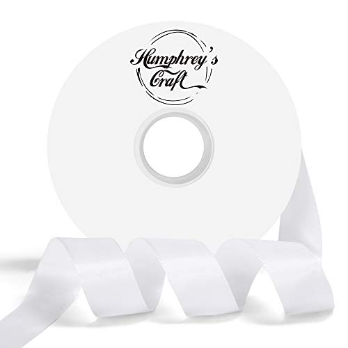Humphrey's Craft 1-inch Double Face Solid Satin Ribbon 100% Polyester Ribbon Roll-50 Yard (Off White)