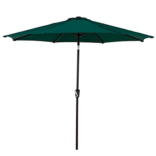 LCH 9 Ft Patio Umbrella Outdoor Sun Shelter Aluminum 8 Ribs Parasol Table Market Hanging Umbrella Tilt Push Button- Easy Crank Open with Sturdy Pole for Backyard Garden and Pool, Green