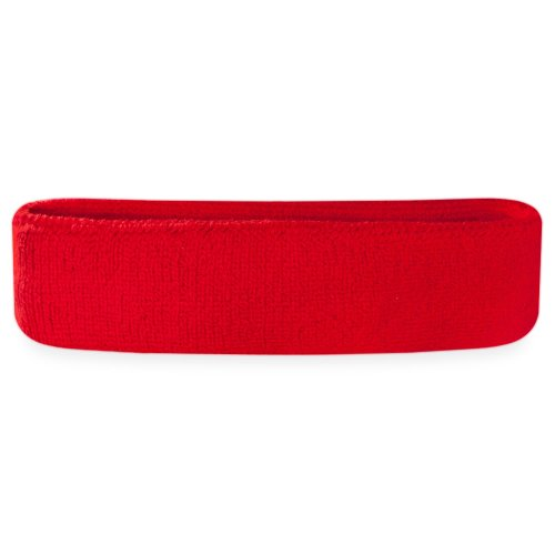 Suddora Sweatband/Headband - Terry Cloth Athletic Basketball Head Sweat Bands (Red)