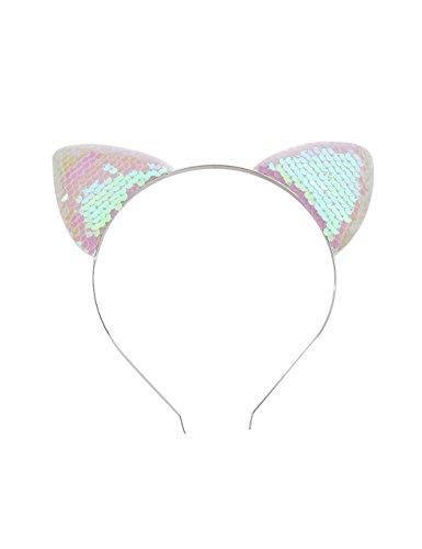 Girls Fashion Hair Clips Cat Ear Shape Sequins Hair Hoop Hair Decoration (Pink)