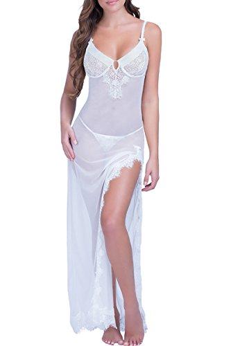 Chiffon Baby Doll Gown (WisLotife Women's Sexy Lingerie Gown Chiffon Babydoll Long Nightwear Dress Robe Lace Splicing Chemises Set Large Size)