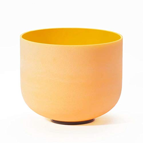 CVNC 12 Inch Yellow Color E Note Solar Plexus Chakra Frosted Quartz Crystal Singing Bowl + Free mallet & O-ring For Meditaion Yoga