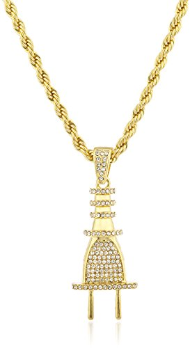 Goldtone+Iced+Out+Plug+Pendant+with+a+30+Inch+Rope+Chain+Necklace+%28C-1262%29