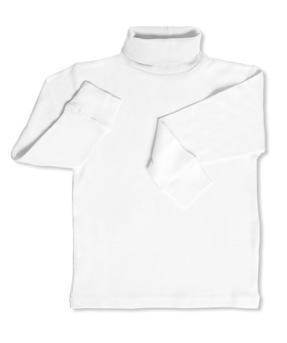 Leveret Solid Turtleneck 100% Cotton (6 Years, White)