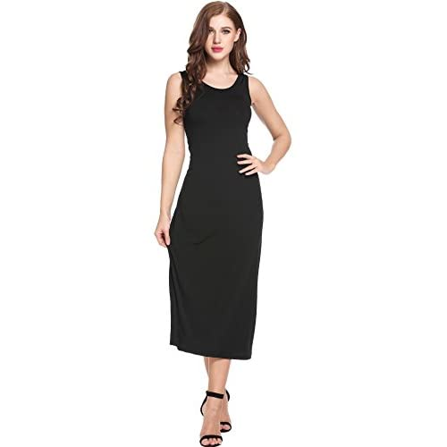 5cd6fdf867365 50%OFF ANGVNS Women s Summer Elegant Casual Round Neck Slim Sleeveless  Swing long Maxi Dress