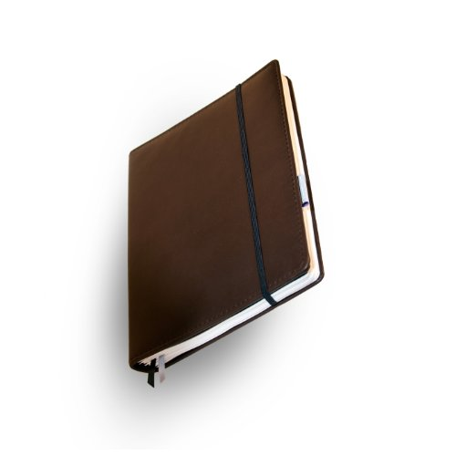 Whitebook Premium P005w-SL, modulares Notizbuch, Nappaleder, rahmengenäht, dunkelbraun, 240 S. Papier FSC (iPad Air & Samsung Galaxy 10.1 2014 integrierbar, Inhaltshefte nachfüllbar)