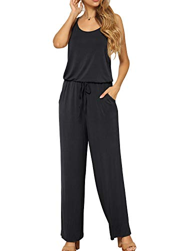 LAINAB Women Casual Spaghetti Strap Wide Leg Pockets Jumpsuits Playsuit Black M ()
