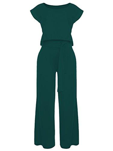 VLUNT Women's 2 Pieces Jumpsuits Outfit Crop Top Wide Leg Pants with Belt,Dark Green-M by VLUNT (Image #2)