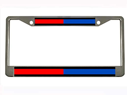 Thin Blue Red Line - Firefighter Police Auto Steel License Plate Frame Tag Holder (Fire Police License Plate)