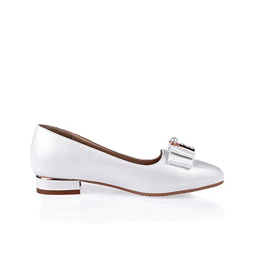 Balamasa Womens Spunnet Guld Bowknot Glas Diamant Mjuk Material Pumpar-shoes Vitt