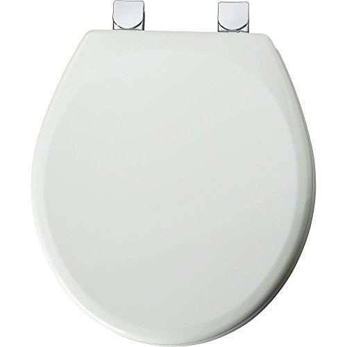 MAYFAIR Toilet Seat with Chrome Hinge will Never Loosen and Easily Remove, ROUND Durable Enameled Wood, White, 49CPEC 000