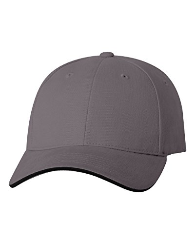Brushed Cotton Baseball Cap With Smooth Consistency and Two Tone Trim on Bill - Dark Grey/Black
