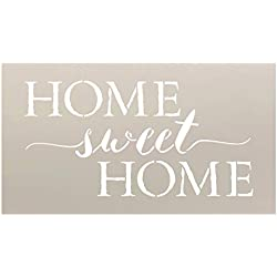 "Home Sweet Home Word Stencil by StudioR12 | Charming Rustic - Reusable Mylar Template | Painting, Chalk, Mixed Media | DIY Home Decor - STCL1749_3 | Select Size | (18"" x 10"")"