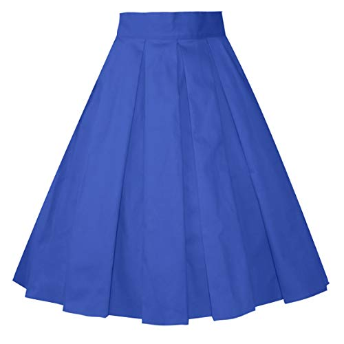 Girstunm Women's Pleated Vintage Skirt Floral Print A-line Midi Skirts with Pockets Royal Blue M