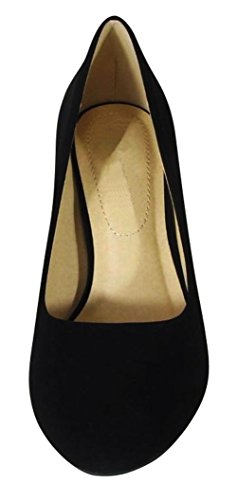 Cambridge Select Womens Classic Closed Round Toe Slip-On High Heel Dress Pump Black Nbpu sI47TzYepI