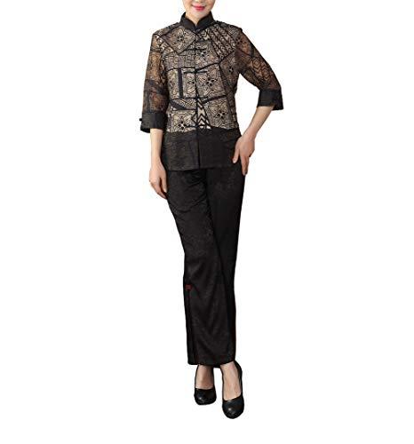 Bitablue Women's 3/4 Sleeve Chinese Shirt (Brown, Large)