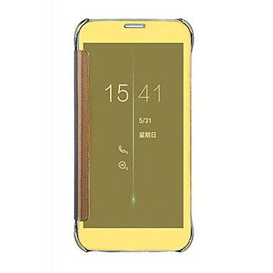 Casos hermosos, cubiertas, Para Activado/Apagado Automático / Cromado / Espejo / Flip Funda Cuerpo Entero Funda Un Color Dura Policarbonato SamsungS6 edge plus / S6 ( Color : Azul , MN-Samsung-CM-Pers Oro
