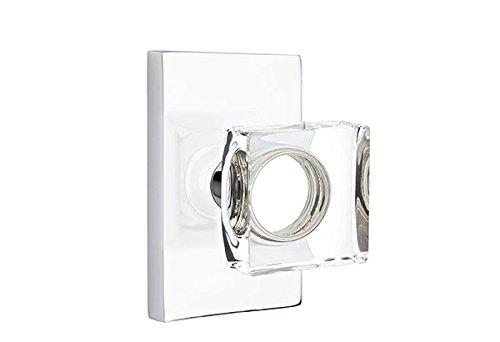 - Passage Set, Modern Rectangle Rosette, Modern Square Crystal Knob, Polished Chrome