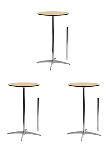 Flash Furniture 24'' Round Wood Cocktail Table with 30'' and 42'' Columns (3 Pack,24-Inch) ()